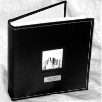 China page Personalised Black Faux leather Stitched Photograph Album Acid free wholesale