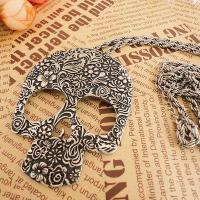 Buy cheap American Jewelry Exaggerated Eyes Carved Gothic Punk Skull Necklace Women Sweater Chain from wholesalers