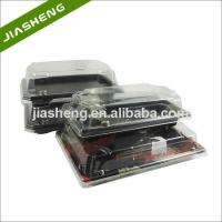 Plastic Japanese Pattern Printed SUSHI Take-away Trays with Clear Snap Closed Dome Lids