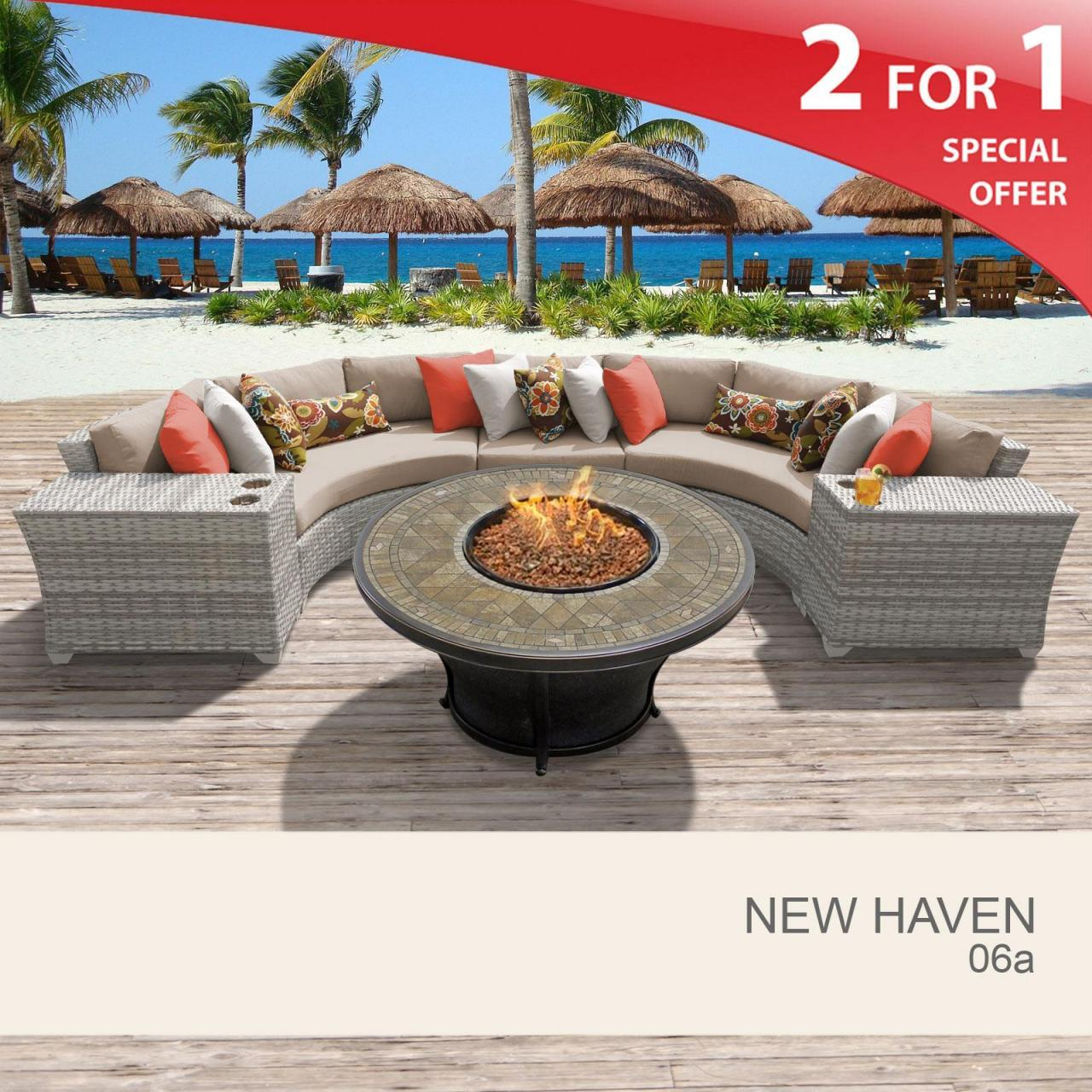 China New Haven New Haven 6 Piece Outdoor Wicker Patio Furniture Set 06a wholesale