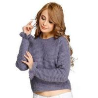 China New Design Chunky Knitted Jumper Computer Knit Sweater Half Milano Stitch Ruffle on sale