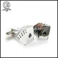China Silver metal Poker mens cufflinks wholesale