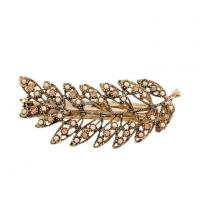 China Crystal Rhinestone And Stones Clip Elegant Gold-Tone Leaf Design Barrette Hairpin wholesale