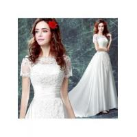China Button Sweep-Train Zipper Lace Gorgeous Short-Sleeve Wedding DressItem Code: CPS373 wholesale