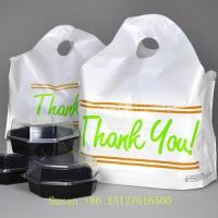 China Wave Top Plastic Food Take Out Bags Carry Out Bags Die Cut Handle Bags For Restaurant wholesale