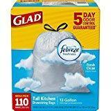 China Glad OdorShield Tall Kitchen Drawstring Trash Bags - Febreze Fresh Clean - 13 Gallon - 110 Count on sale