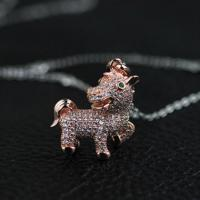 China 925 Sterling silver Gold plated horse necklace with zircons on sale