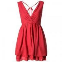 China Red deep v- neck short cocktail chiffon dresses for lady on sale