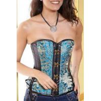China Sexy Corsets Embroidered Buckle Front Corset Top with Leather Details Item NoV1557 on sale
