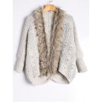 China Faux Fur Trimmed Cable Knit Cardigan - Light Khaki wholesale