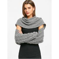 China Women Cable Knit Convertible Sweater - Deep Gray on sale