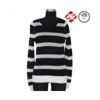 China Ladies knitted sweater with hole and stripe pattern wholesale