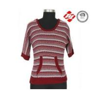 China Mid sleeve stripe and hole ladies sweater with pocket wholesale