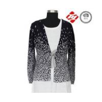 China Allover print women cardigan sweater with knitted wholesale