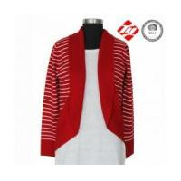 China Woman red knitted cardigan sweater with white stripe wholesale