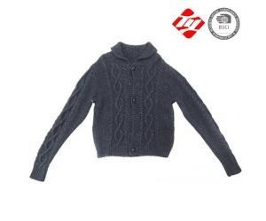 China Men black cable pattern knitted cardigan sweater