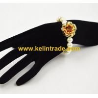 China Crystal Beaded Bracelet with Gold Rose the hot gifts in Valentine's day on sale