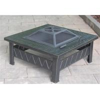 China 81x81x44cm Steel Metal Square Garden Fire Pit Table For Outdoor Use wholesale