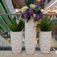China Office tall large white fiberglass durable FRP planter container wholesale