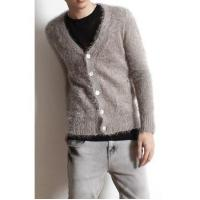 China Men's Fashion V-neck Single Breasted Fluffy Cardigan wholesale