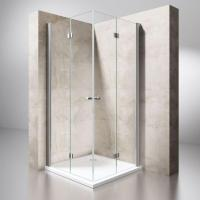 China Frameless Double Folding Door Square Shower Screen Space Saving Innovator on sale