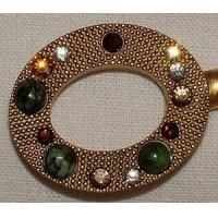 Buy cheap Gadgets & Tools Purse Hanger - Gold Oval with Ruby Ziosite and Swarovski Crystals from wholesalers