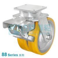 China DW 88 Series 12(305mm) Dual Yellow PU on Silver Iron Wheel Top Plate Swivel w/Total Lock Caster wholesale