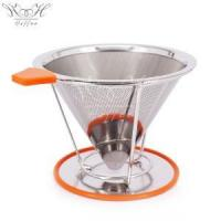 China Reusable Stainless Steel Filter Cone With Cup Stand on sale