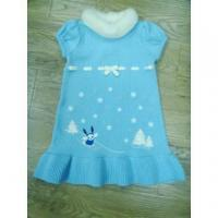 China Girls Short Sleeve Knitting Dress with Embroidery wholesale
