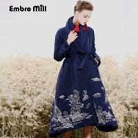 China Royal embroidery Down Jacket coat women winter vintage loose lady long floral thick on sale