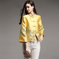 China Women tops autumn royal Jacquard vintage floral short coat yellow/pink 3/4 sleeve male S-XXL on sale