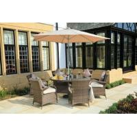 China PAD-1122-B Only Sell to US 6 Seat Patio Wicker Round Table Dining Set wholesale