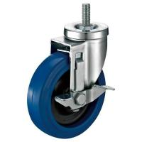 China Soft Rubber Wheel 1-1/4 Swivel Locking Caster With Threaded Stem on sale