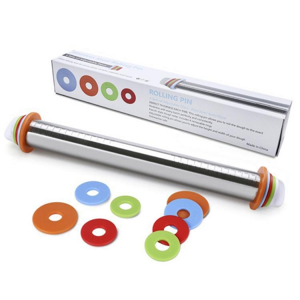 China SRK#900 Adjustable stainless steel rolling pin with scale