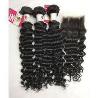 Buy cheap Top Quality Virgin Peruvian Hair Extensions with Human Hair Lace Closure Deep Wave #96680 from wholesalers