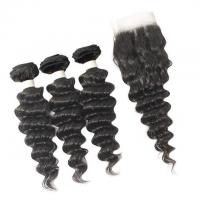 Buy cheap Vvwig Breathable Natural Hair Colors Deep Wave Hair 3 Bundles With Closure Brazilian from wholesalers